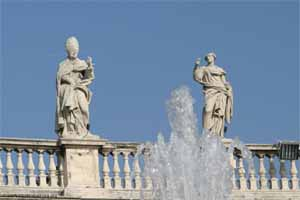 Saint Remigius (15) and Apollonia (14) on the North Colonnade of St Peter's Square