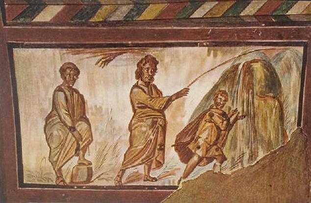Моисей, источающий воду из скалы.