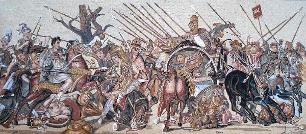 Рисунок-реконструкция Александровой мозаики битвы при Иссе