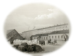 Строительство Исаакиевского собора. Из альбома О.Монферрана. 1845