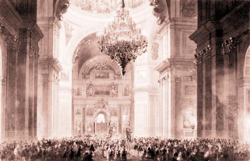 Церемония освящения кафедрального Исаакиевского собора в присутствии Александра II. Литография