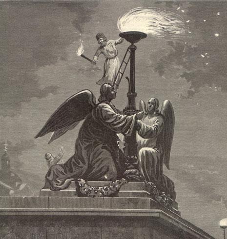 Зажжение светильника на Исаакиевском соборе в полночь в Светлое Воскресение. Рис. А.Бальдингера, гравюра К.Вейерман