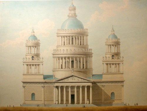 Фасад Исаакиевского собора. Неосуществленный проект О.Монферрана. Чертеж. 1820-е гг.