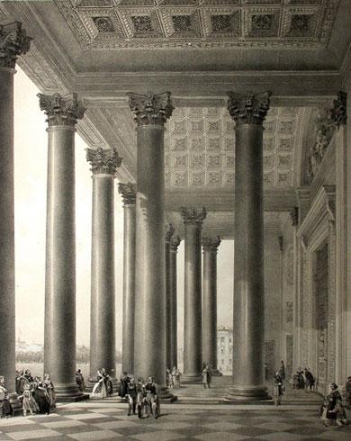 Портик Исаакиевского собора. Из альбома О.Монферрана. 1845