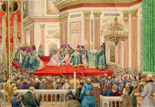 Обряд омовения ног в Исаакиевском соборе. Неизвестный художник. [1930]. Акварель