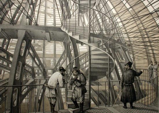 Металлический каркас главного купола. Литография с рис. О.Монферрана. 1845