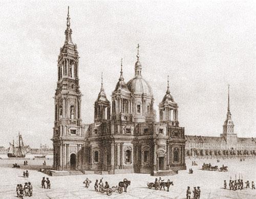 Третья Исаакиевская церковь. Проект А.Ринальди. 1768. Рис. О.Монферрана