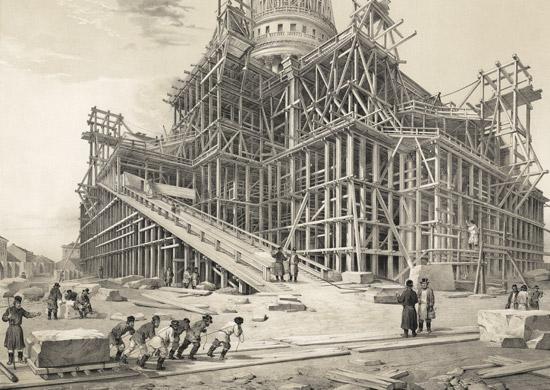 Транспортировка мраморного блока. Литография с рис. О.Монферрана. 1845